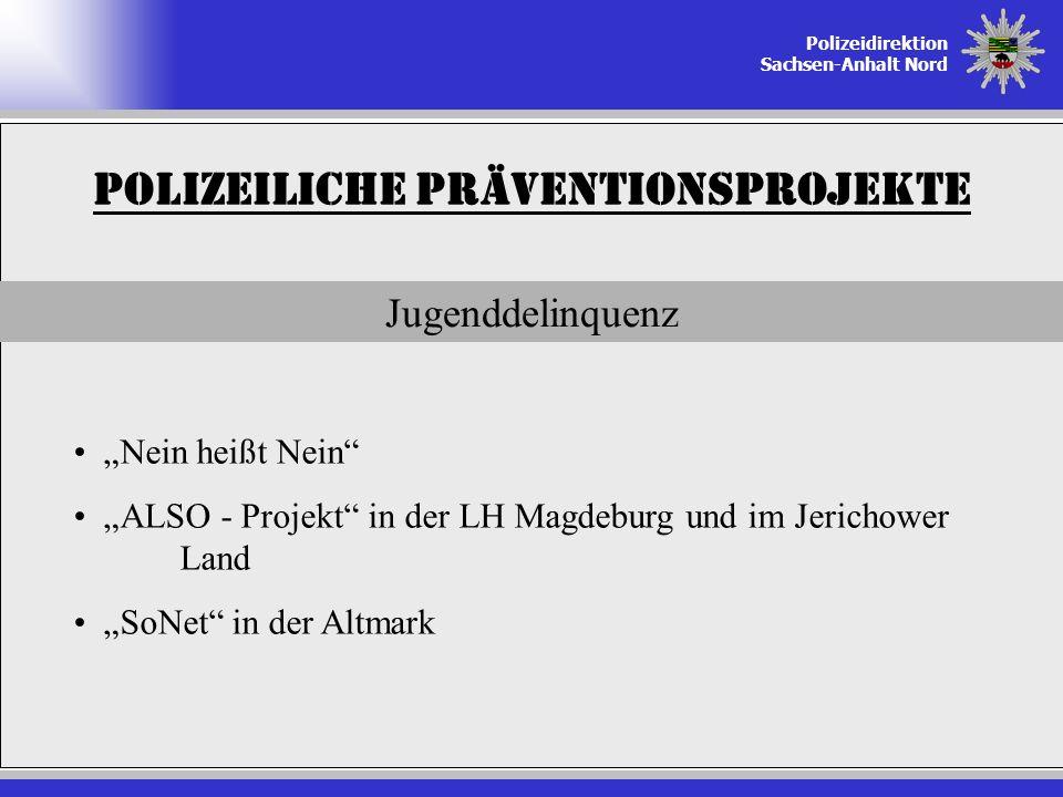 Polizeidirektion Sachsen-Anhalt Nord Polizeiliche Präventionsprojekte Jugenddelinquenz Nein heißt Nein ALSO - Projekt in der LH Magdeburg und im Jeric