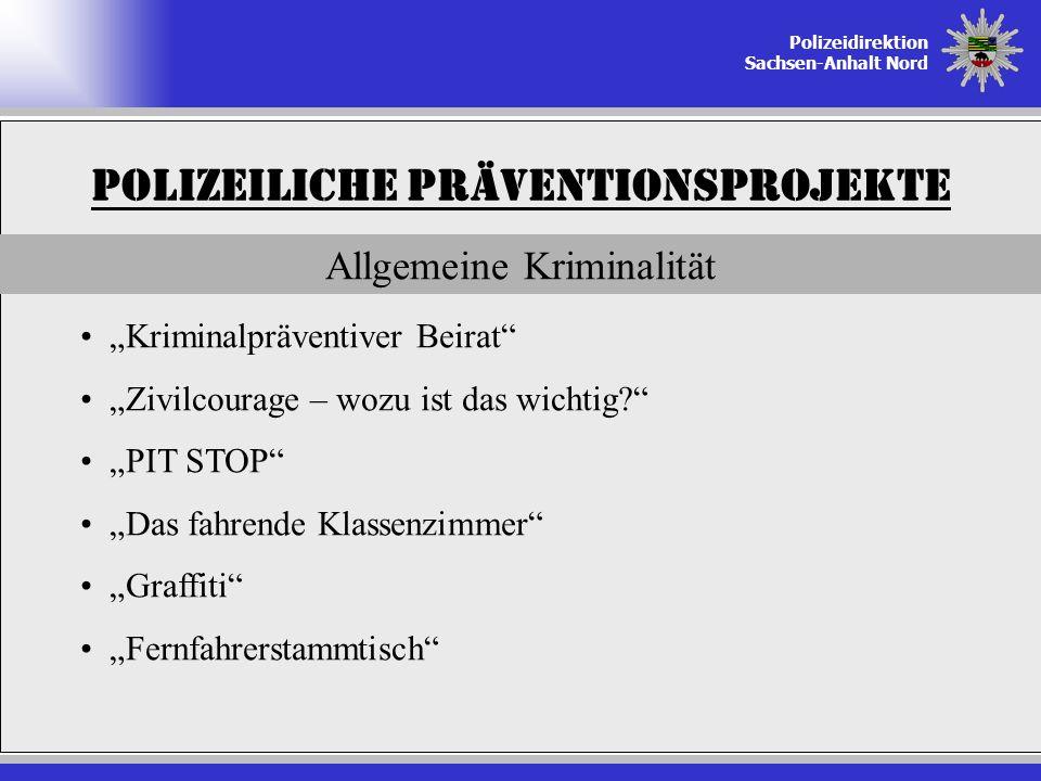 Polizeidirektion Sachsen-Anhalt Nord Polizeiliche Präventionsprojekte Allgemeine Kriminalität Kriminalpräventiver Beirat Zivilcourage – wozu ist das w