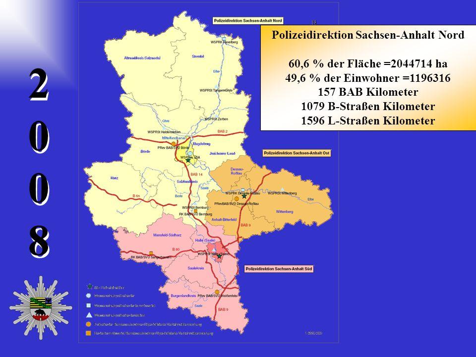 20082008 2 0 0 8 60,6 % der Fläche =2044714 ha 49,6 % der Einwohner =1196316 157 BAB Kilometer 1079 B-Straßen Kilometer 1596 L-Straßen Kilometer