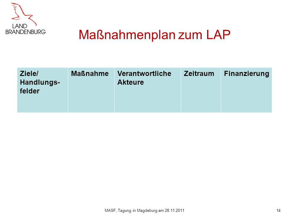 Maßnahmenplan zum LAP MASF, Tagung in Magdeburg am 28.11.201114 Ziele/ Handlungs- felder MaßnahmeVerantwortliche Akteure ZeitraumFinanzierung