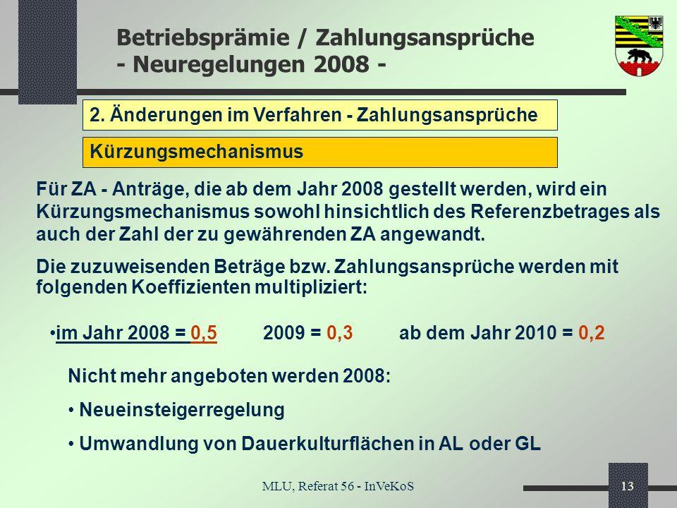 Betriebsprämie / Zahlungsansprüche - Neuregelungen 2008 - MLU, Referat 56 - InVeKoS13 2. Änderungen im Verfahren - Zahlungsansprüche Kürzungsmechanism