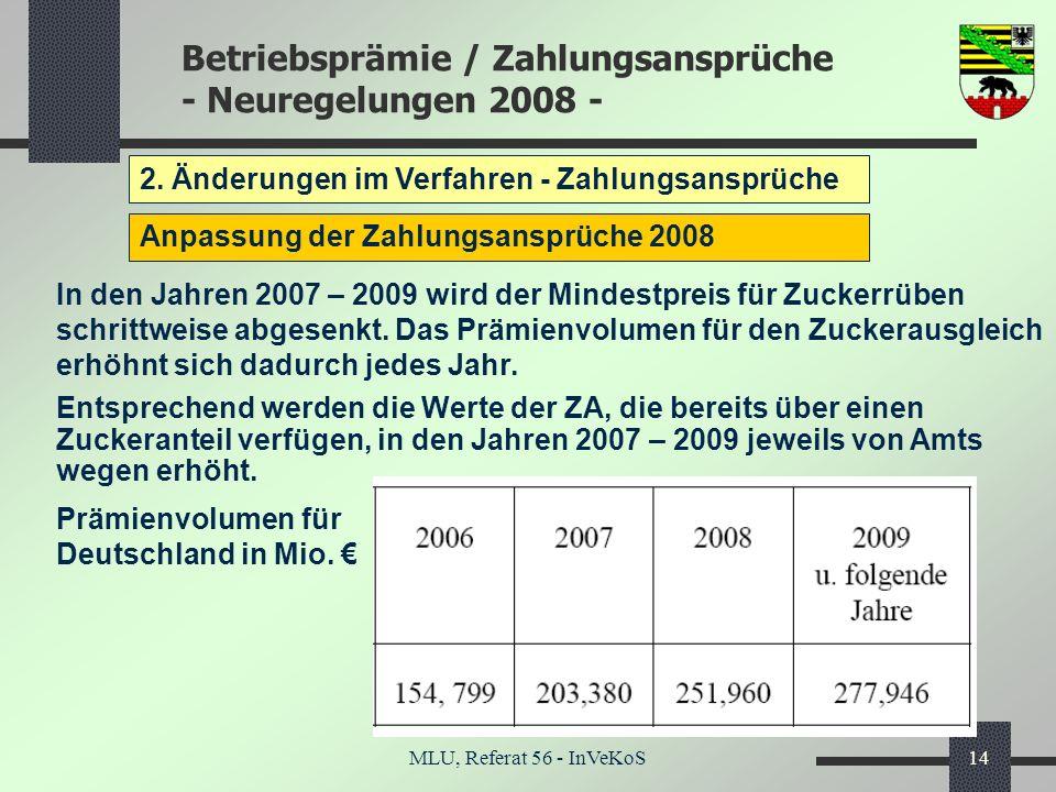 Betriebsprämie / Zahlungsansprüche - Neuregelungen 2008 - MLU, Referat 56 - InVeKoS14 2. Änderungen im Verfahren - Zahlungsansprüche Anpassung der Zah