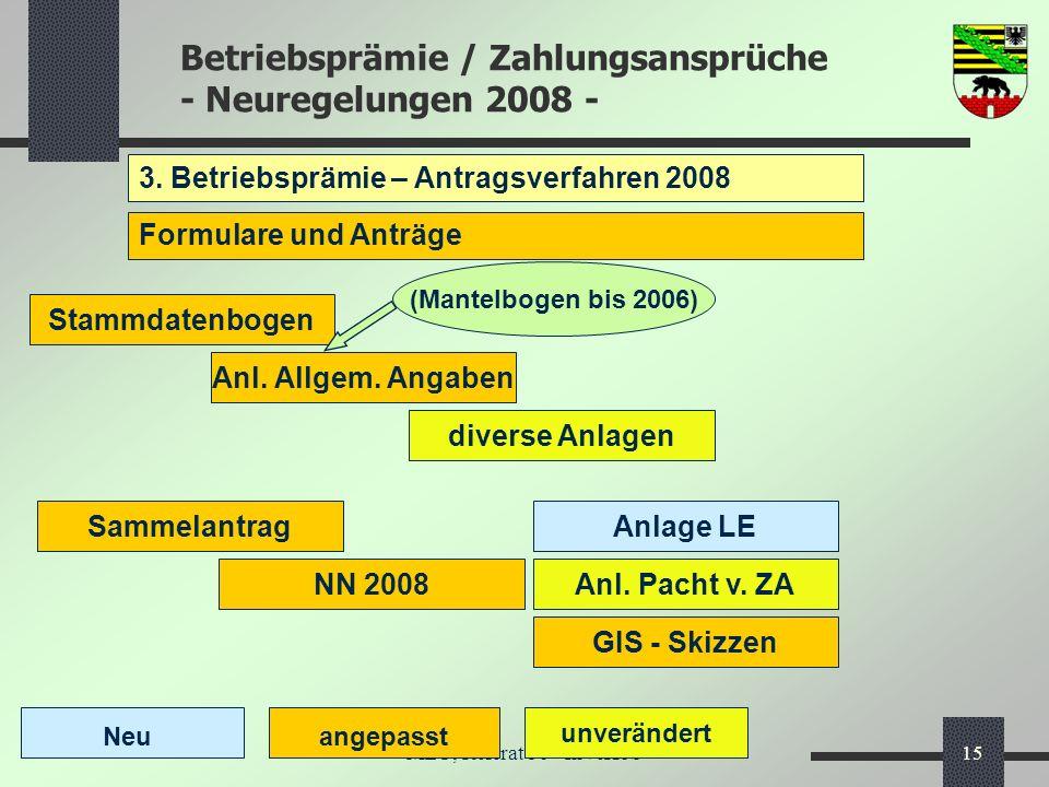 Betriebsprämie / Zahlungsansprüche - Neuregelungen 2008 - MLU, Referat 56 - InVeKoS15 3. Betriebsprämie – Antragsverfahren 2008 Formulare und Anträge