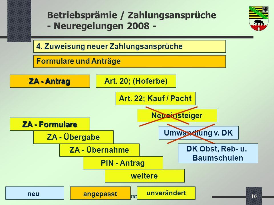 Betriebsprämie / Zahlungsansprüche - Neuregelungen 2008 - MLU, Referat 56 - InVeKoS16 4. Zuweisung neuer Zahlungsansprüche Formulare und Anträge neu a