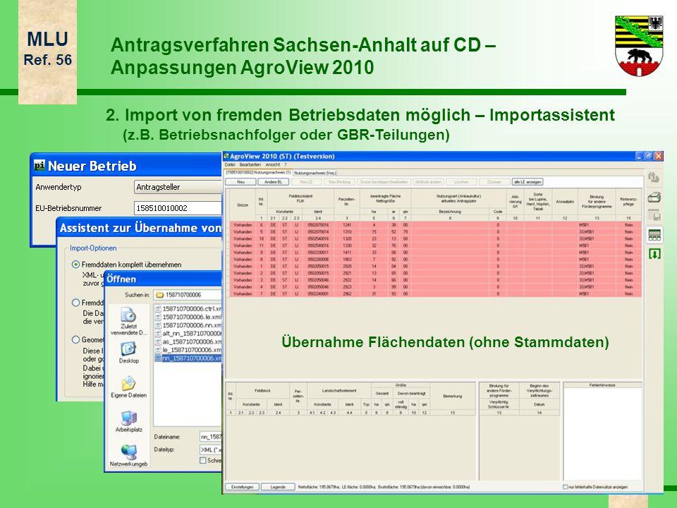 MLU Ref. 56 11 Antragsverfahren Sachsen-Anhalt auf CD – Anpassungen AgroView 2010 2. Import von fremden Betriebsdaten möglich – Importassistent (z.B.