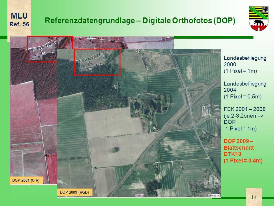 MLU Ref. 56 14 DOP 2004 (CIR) Landesbefliegung 2000 (1 Pixel = 1m) Landesbefliegung 2004 (1 Pixel = 0,5m) FEK 2001 – 2008 (je 2-3 Zonen => DOP 1 Pixel