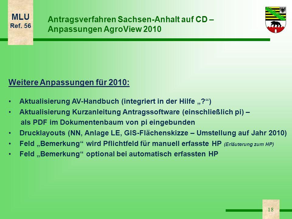 MLU Ref. 56 18 Antragsverfahren Sachsen-Anhalt auf CD – Anpassungen AgroView 2010 Weitere Anpassungen für 2010: Aktualisierung AV-Handbuch (integriert