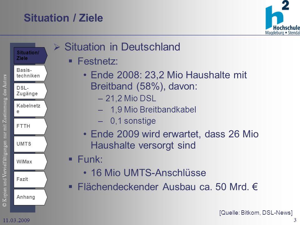 © Kopien und Vervielfältigungen nur mit Zustimmung des Autors 3 11.03.2009 Situation / Ziele Basis- techniken DSL- Zugänge Kabelnetz e UMTS WiMax Fazit Anhang FTTH Situation in Deutschland Festnetz: Ende 2008: 23,2 Mio Haushalte mit Breitband (58%), davon: –21,2 Mio DSL – 1,9 Mio Breitbandkabel – 0,1 sonstige Ende 2009 wird erwartet, dass 26 Mio Haushalte versorgt sind Funk: 16 Mio UMTS-Anschlüsse Flächendeckender Ausbau ca.