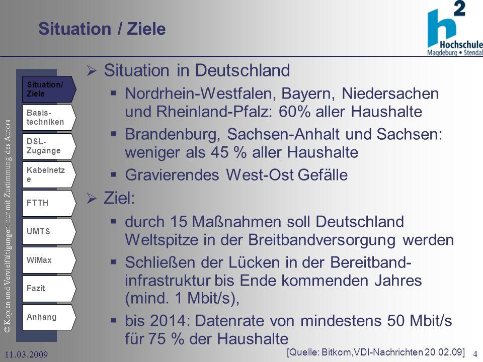 © Kopien und Vervielfältigungen nur mit Zustimmung des Autors 4 11.03.2009 Situation / Ziele Basis- techniken DSL- Zugänge Kabelnetz e UMTS WiMax Fazit Anhang FTTH Situation in Deutschland Nordrhein-Westfalen, Bayern, Niedersachen und Rheinland-Pfalz: 60% aller Haushalte Brandenburg, Sachsen-Anhalt und Sachsen: weniger als 45 % aller Haushalte Gravierendes West-Ost Gefälle Ziel: durch 15 Maßnahmen soll Deutschland Weltspitze in der Breitbandversorgung werden Schließen der Lücken in der Bereitband- infrastruktur bis Ende kommenden Jahres (mind.
