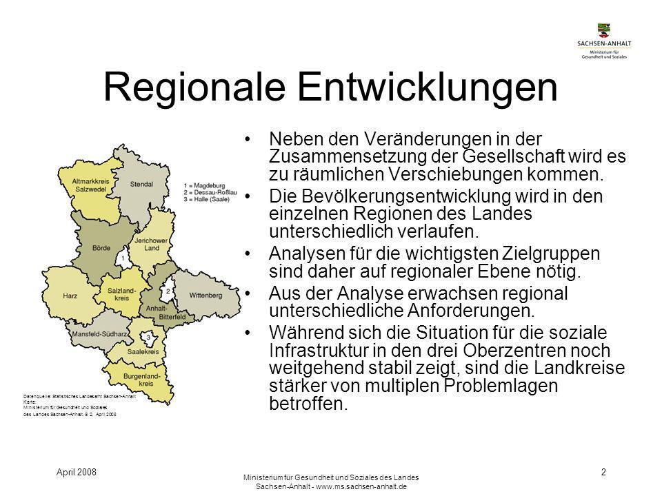 April 2008 Ministerium für Gesundheit und Soziales des Landes Sachsen-Anhalt - www.ms.sachsen-anhalt.de 2 Regionale Entwicklungen Neben den Veränderungen in der Zusammensetzung der Gesellschaft wird es zu räumlichen Verschiebungen kommen.