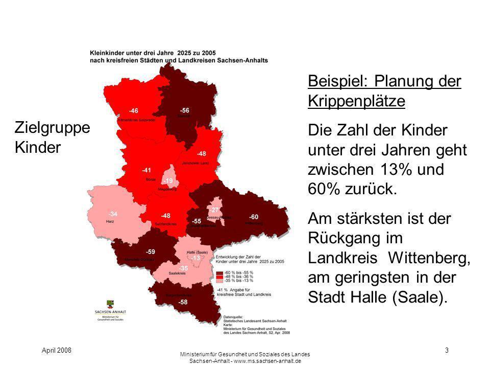 April 2008 Ministerium für Gesundheit und Soziales des Landes Sachsen-Anhalt - www.ms.sachsen-anhalt.de 3 Beispiel: Planung der Krippenplätze Die Zahl der Kinder unter drei Jahren geht zwischen 13% und 60% zurück.