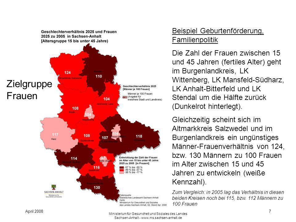 April 2008 Ministerium für Gesundheit und Soziales des Landes Sachsen-Anhalt - www.ms.sachsen-anhalt.de 7 Beispiel Geburtenförderung, Familienpolitik