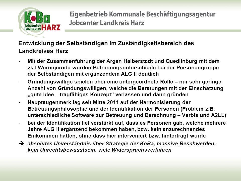 Entwicklung der Selbständigen im Zuständigkeitsbereich des Landkreises Harz - 54,9%