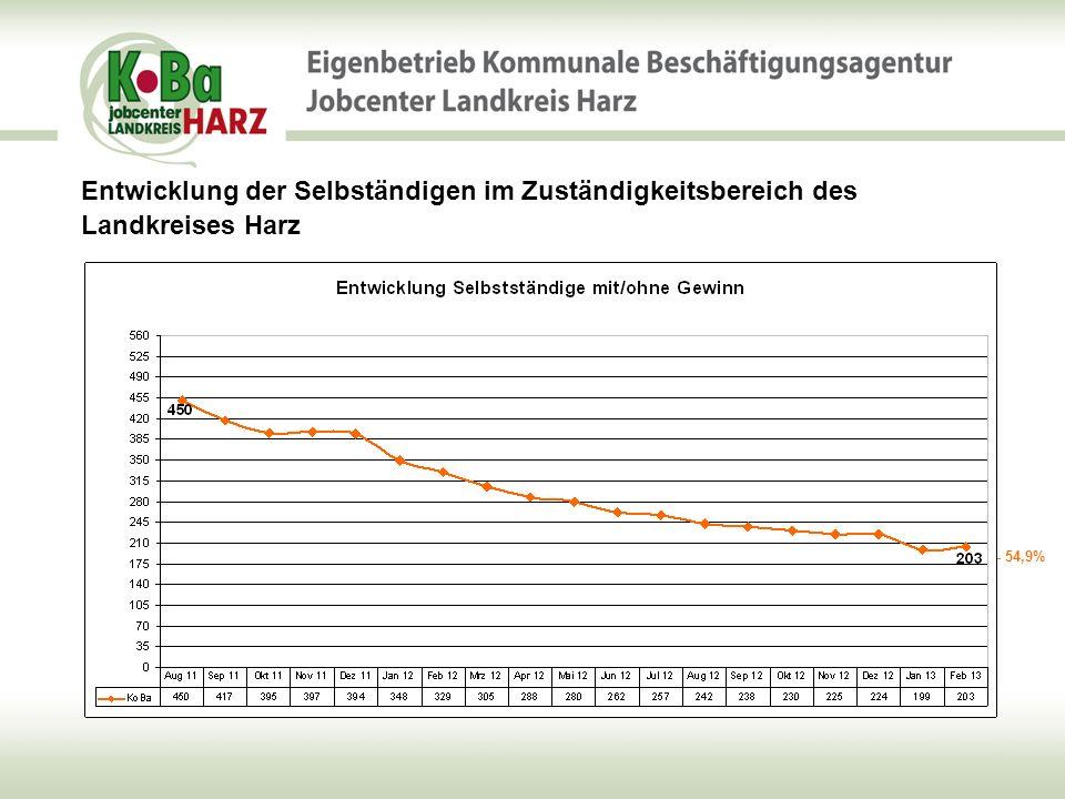 Entwicklung der Selbständigen im Zuständigkeitsbereich des Landkreises Harz - 74,6%