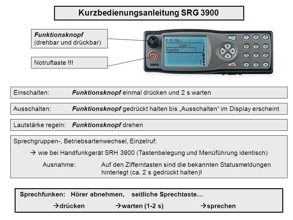 Funktionsknopf (drehbar und drückbar) Kurzbedienungsanleitung SRG 3900 Einschalten: Funktionsknopf einmal drücken und 2 s warten Lautstärke regeln: Fu