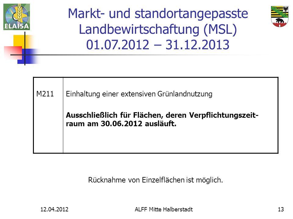 12.04.2012ALFF Mitte Halberstadt13 M211Einhaltung einer extensiven Grünlandnutzung Ausschließlich für Flächen, deren Verpflichtungszeit- raum am 30.06.2012 ausläuft.