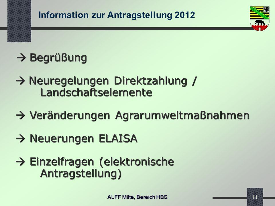 Information zur Antragstellung 2012 ALFF Mitte, Bereich HBS11 Begrüßung Neuregelungen Direktzahlung / Landschaftselemente Veränderungen Agrarumweltmaß