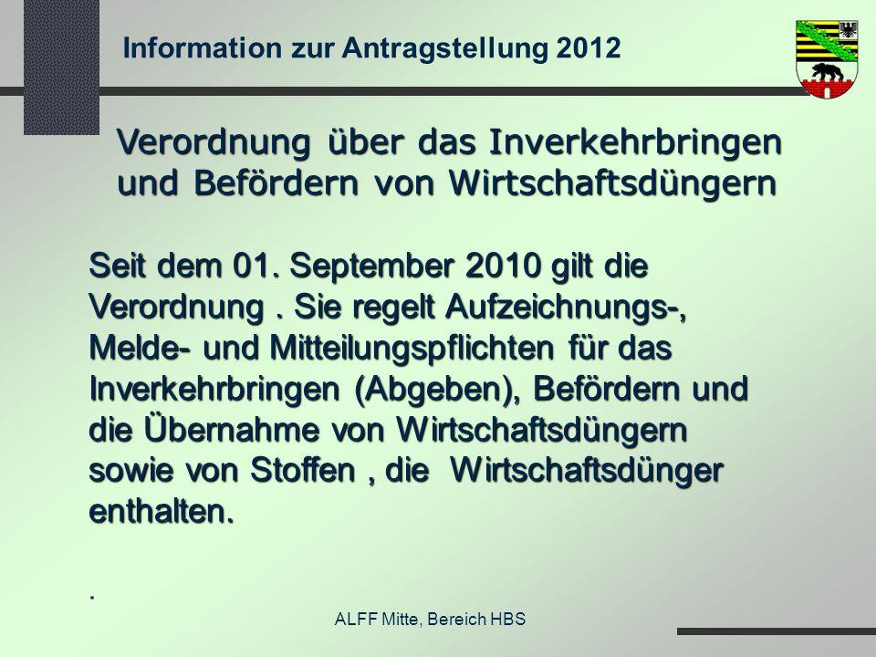 Information zur Antragstellung 2012 ALFF Mitte, Bereich HBS Verordnung über das Inverkehrbringen und Befördern von Wirtschaftsdüngern Seit dem 01. Sep