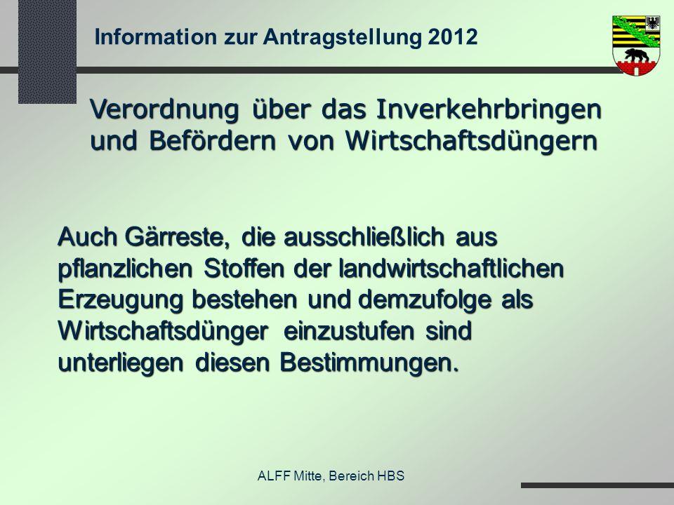 Information zur Antragstellung 2012 ALFF Mitte, Bereich HBS Verordnung über das Inverkehrbringen und Befördern von Wirtschaftsdüngern Auch Gärreste, d