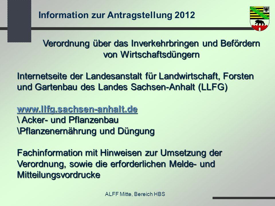 Information zur Antragstellung 2012 ALFF Mitte, Bereich HBS Verordnung über das Inverkehrbringen und Befördern von Wirtschaftsdüngern Internetseite de