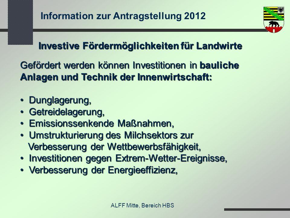Information zur Antragstellung 2012 ALFF Mitte, Bereich HBS Investive Fördermöglichkeiten für Landwirte Gefördert werden können Investitionen in bauli