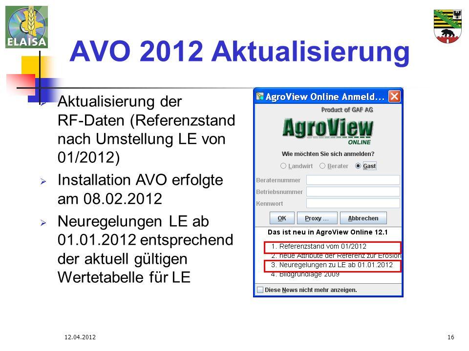 12.04.201216 AVO 2012 Aktualisierung Aktualisierung der RF-Daten (Referenzstand nach Umstellung LE von 01/2012) Installation AVO erfolgte am 08.02.201