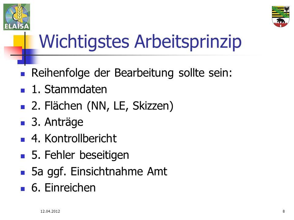 12.04.20128 Wichtigstes Arbeitsprinzip Reihenfolge der Bearbeitung sollte sein: 1. Stammdaten 2. Flächen (NN, LE, Skizzen) 3. Anträge 4. Kontrollberic