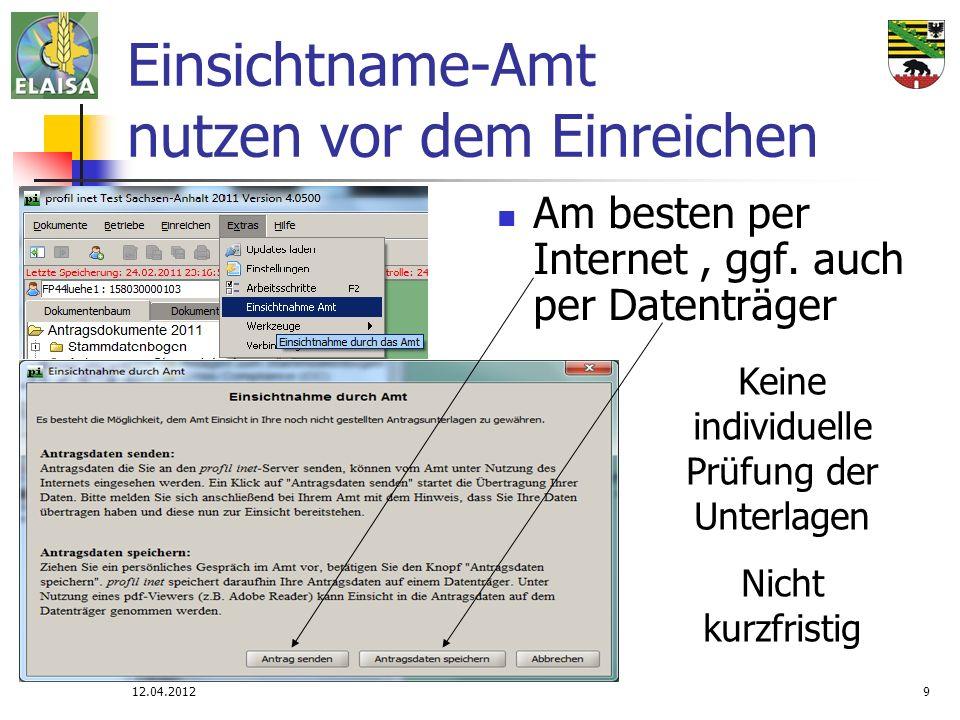 12.04.20129 Einsichtname-Amt nutzen vor dem Einreichen Am besten per Internet, ggf. auch per Datenträger Keine individuelle Prüfung der Unterlagen Nic