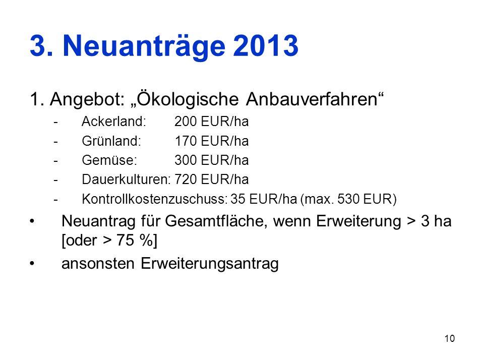 10 3. Neuanträge 2013 1. Angebot: Ökologische Anbauverfahren -Ackerland: 200 EUR/ha -Grünland: 170 EUR/ha -Gemüse:300 EUR/ha -Dauerkulturen: 720 EUR/h