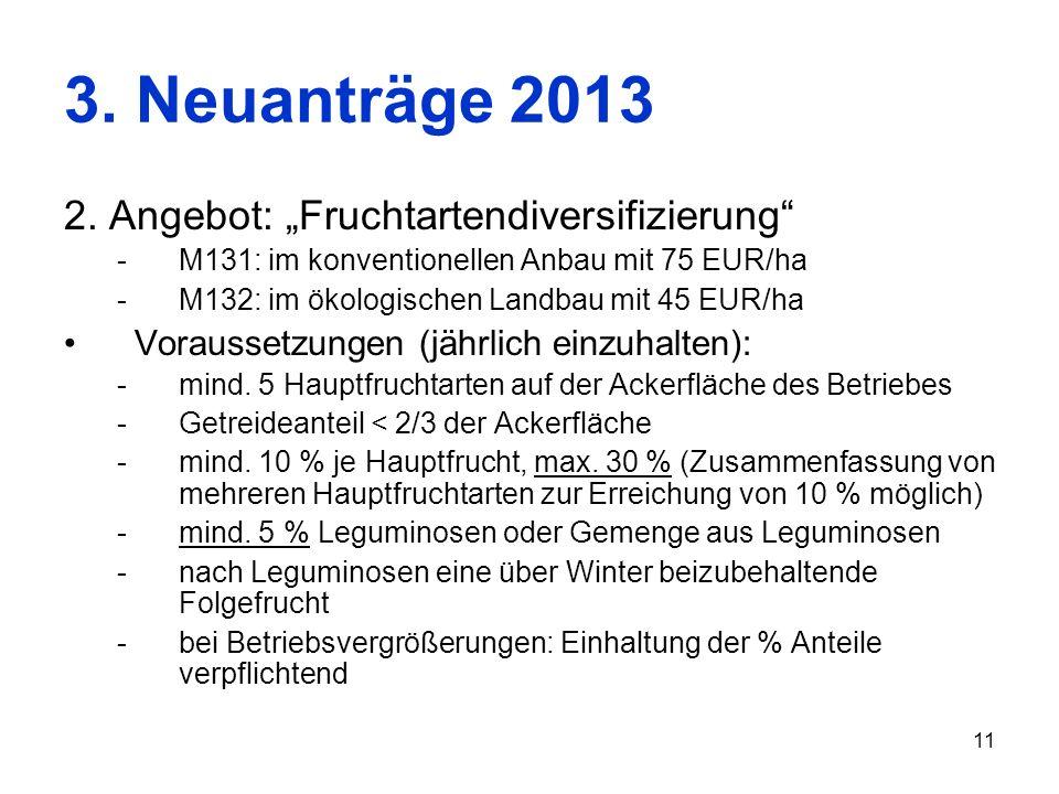 11 3. Neuanträge 2013 2. Angebot: Fruchtartendiversifizierung -M131: im konventionellen Anbau mit 75 EUR/ha -M132: im ökologischen Landbau mit 45 EUR/