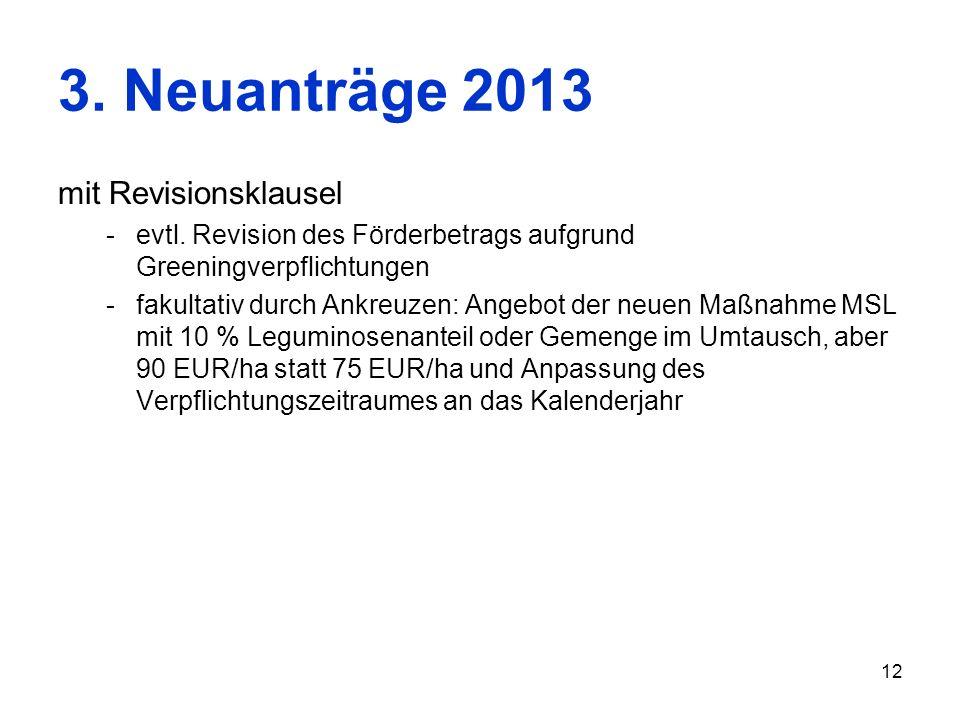 12 3. Neuanträge 2013 mit Revisionsklausel -evtl. Revision des Förderbetrags aufgrund Greeningverpflichtungen -fakultativ durch Ankreuzen: Angebot der