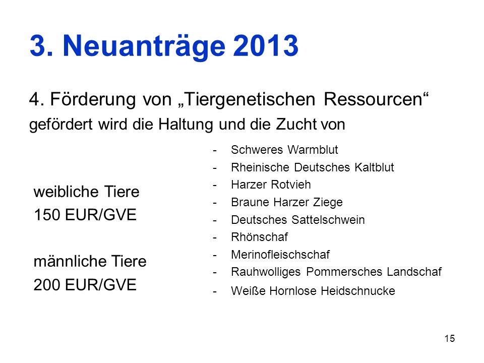 15 3. Neuanträge 2013 4. Förderung von Tiergenetischen Ressourcen gefördert wird die Haltung und die Zucht von -Schweres Warmblut -Rheinische Deutsche