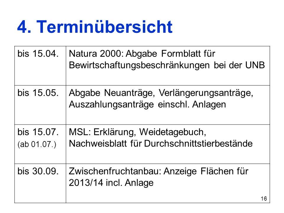 16 4. Terminübersicht bis 15.04.Natura 2000: Abgabe Formblatt für Bewirtschaftungsbeschränkungen bei der UNB bis 15.05.Abgabe Neuanträge, Verlängerung