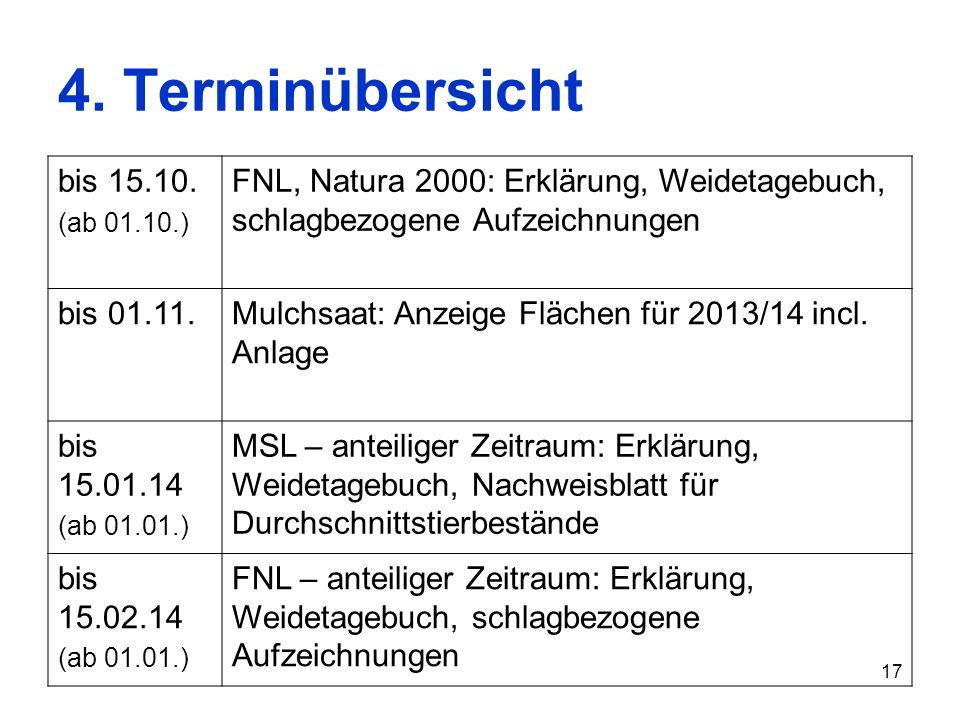 17 4. Terminübersicht bis 15.10. (ab 01.10.) FNL, Natura 2000: Erklärung, Weidetagebuch, schlagbezogene Aufzeichnungen bis 01.11.Mulchsaat: Anzeige Fl