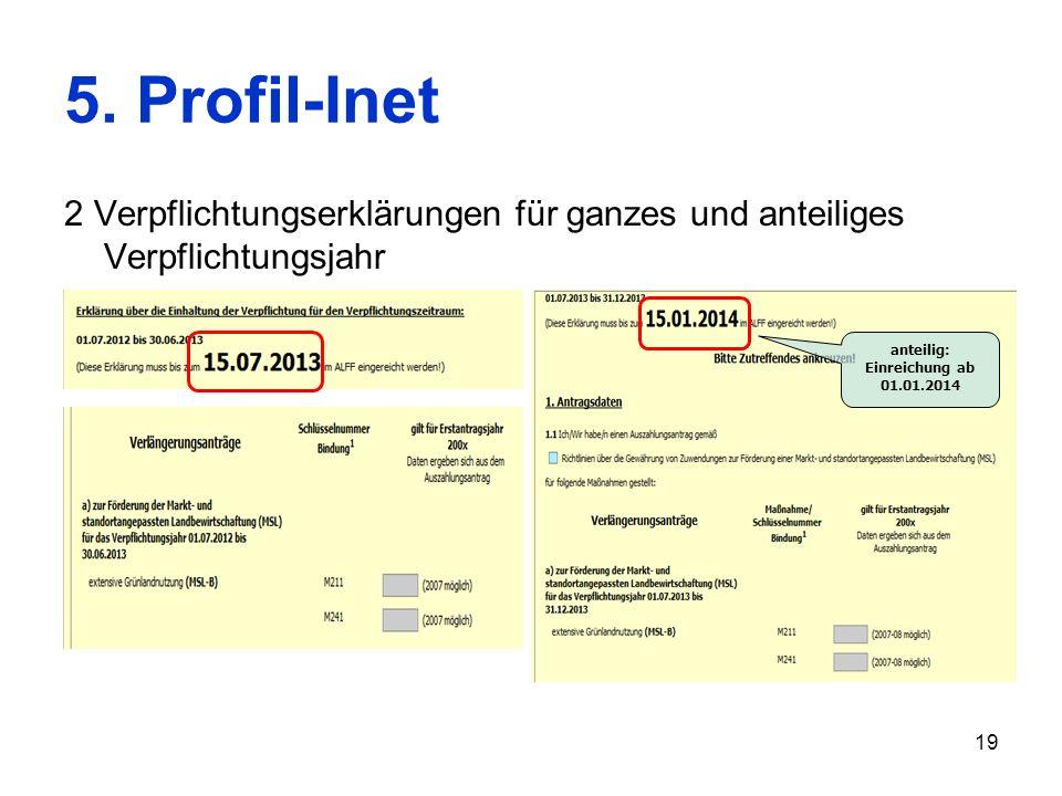 19 5. Profil-Inet 2 Verpflichtungserklärungen für ganzes und anteiliges Verpflichtungsjahr anteilig: Einreichung ab 01.01.2014