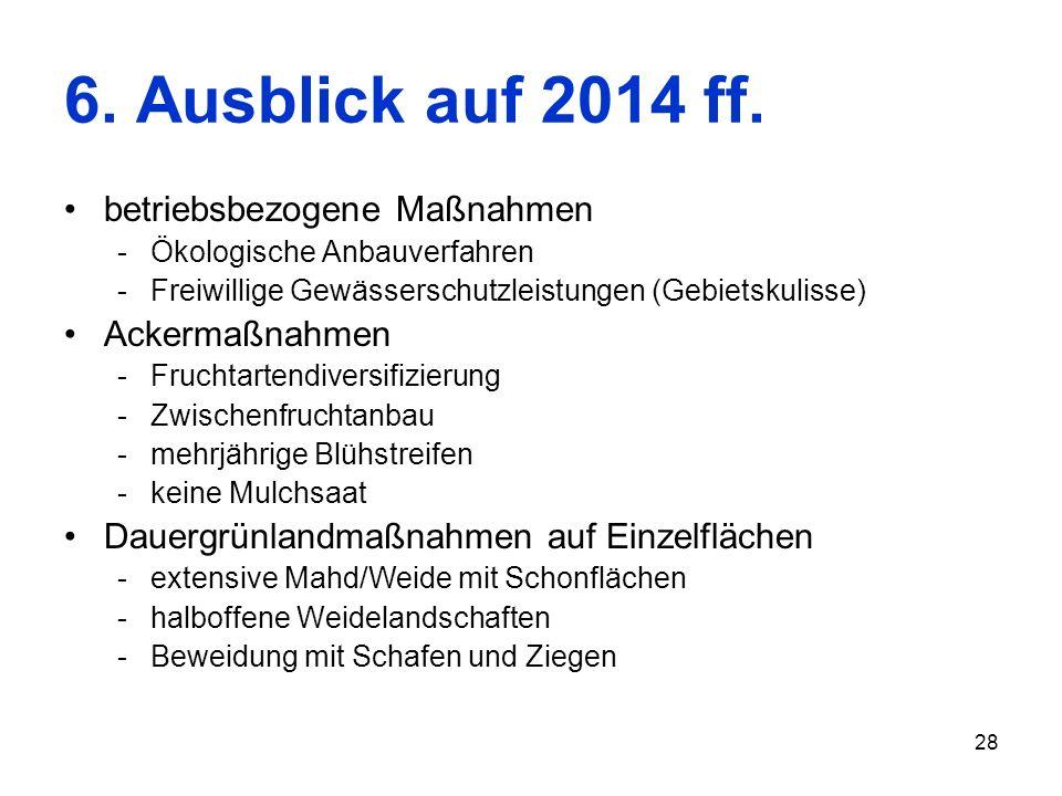 28 6. Ausblick auf 2014 ff. betriebsbezogene Maßnahmen -Ökologische Anbauverfahren -Freiwillige Gewässerschutzleistungen (Gebietskulisse) Ackermaßnahm