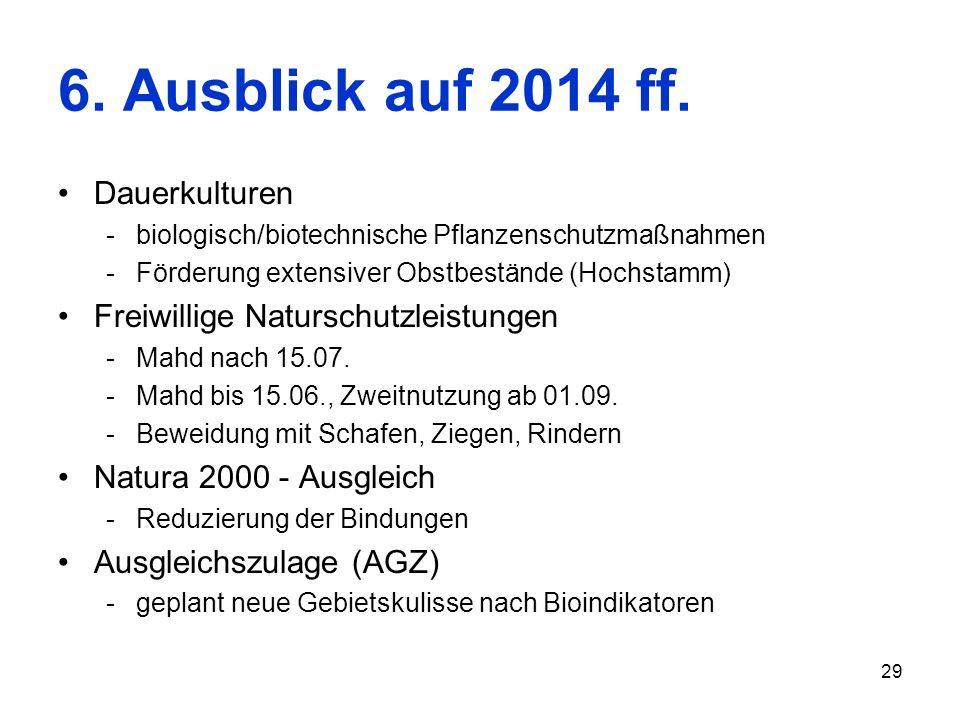 29 6. Ausblick auf 2014 ff. Dauerkulturen -biologisch/biotechnische Pflanzenschutzmaßnahmen -Förderung extensiver Obstbestände (Hochstamm) Freiwillige