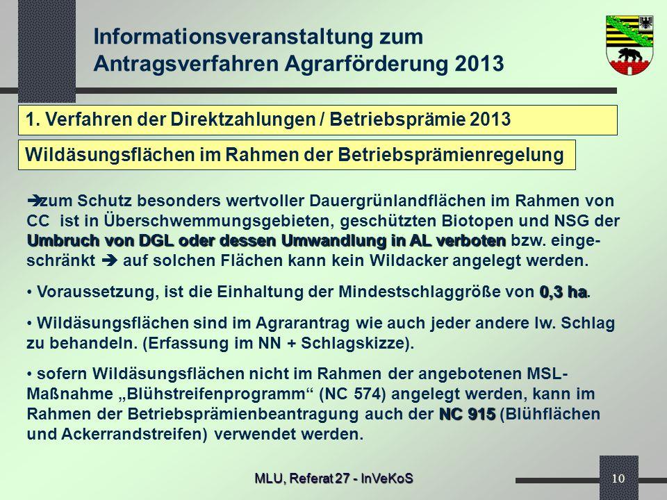 Informationsveranstaltung zum Antragsverfahren Agrarförderung 2013 MLU, Referat 27 - InVeKoS10 1. Verfahren der Direktzahlungen / Betriebsprämie 2013
