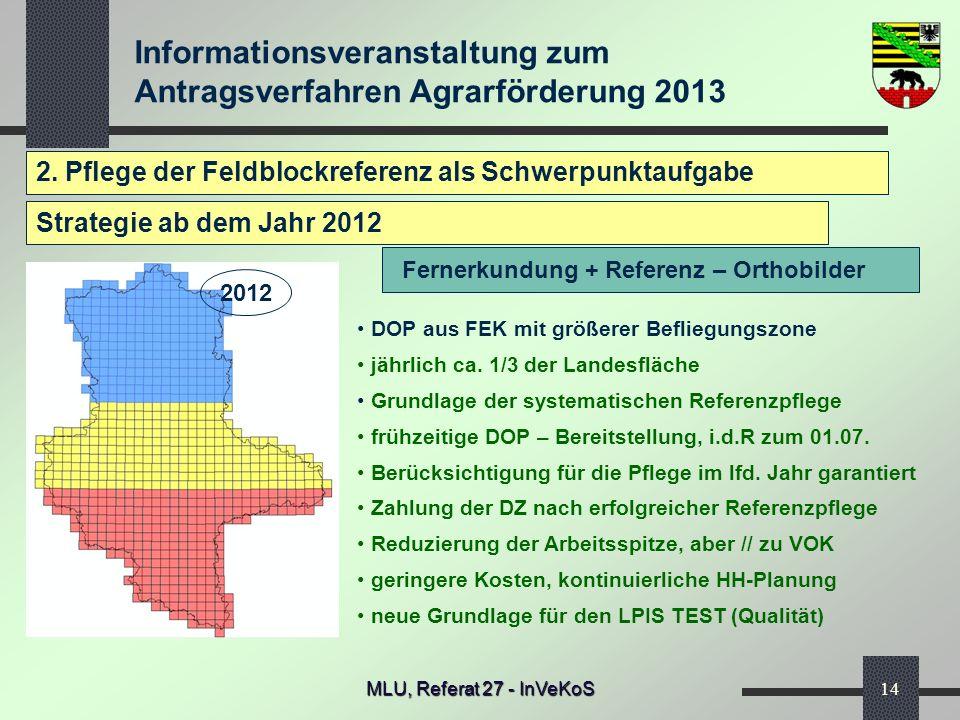 Informationsveranstaltung zum Antragsverfahren Agrarförderung 2013 MLU, Referat 27 - InVeKoS14 2. Pflege der Feldblockreferenz als Schwerpunktaufgabe