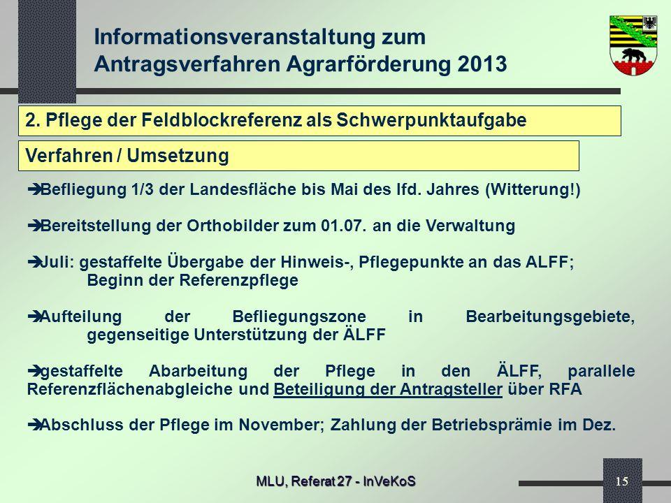 Informationsveranstaltung zum Antragsverfahren Agrarförderung 2013 MLU, Referat 27 - InVeKoS15 2. Pflege der Feldblockreferenz als Schwerpunktaufgabe