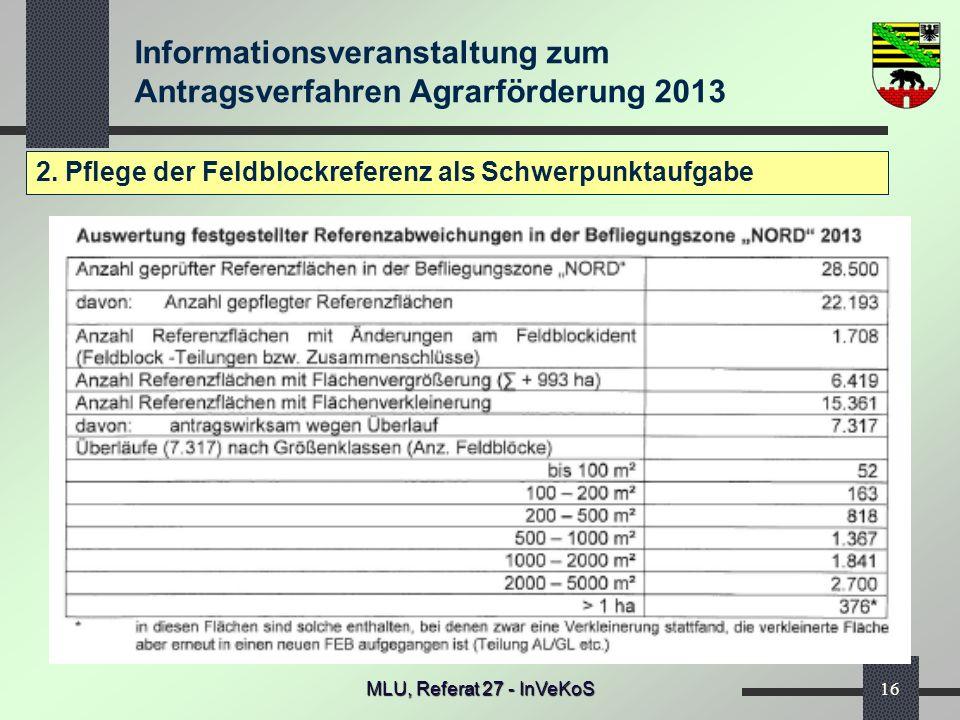 Informationsveranstaltung zum Antragsverfahren Agrarförderung 2013 MLU, Referat 27 - InVeKoS16 2. Pflege der Feldblockreferenz als Schwerpunktaufgabe