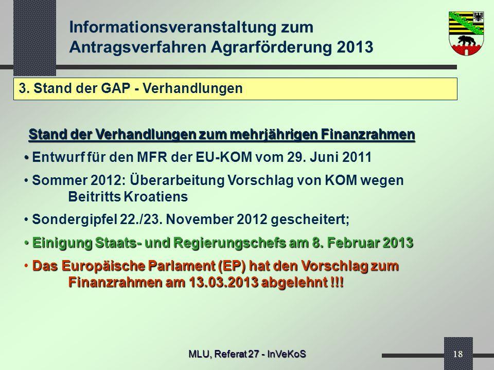 Informationsveranstaltung zum Antragsverfahren Agrarförderung 2013 MLU, Referat 27 - InVeKoS18 3. Stand der GAP - Verhandlungen Stand der Verhandlunge