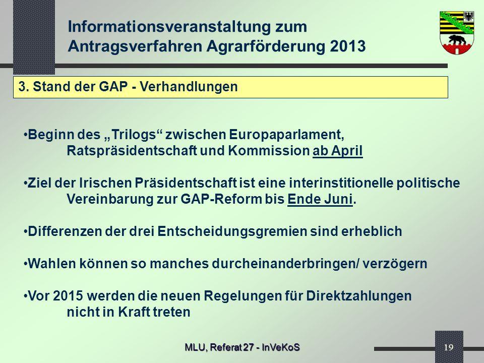 Informationsveranstaltung zum Antragsverfahren Agrarförderung 2013 MLU, Referat 27 - InVeKoS19 3. Stand der GAP - Verhandlungen Beginn des Trilogs zwi