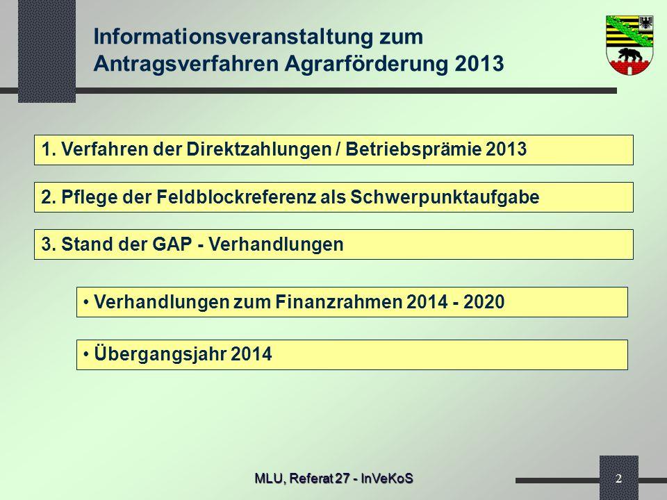 Informationsveranstaltung zum Antragsverfahren Agrarförderung 2013 MLU, Referat 27 - InVeKoS2 1. Verfahren der Direktzahlungen / Betriebsprämie 2013 2