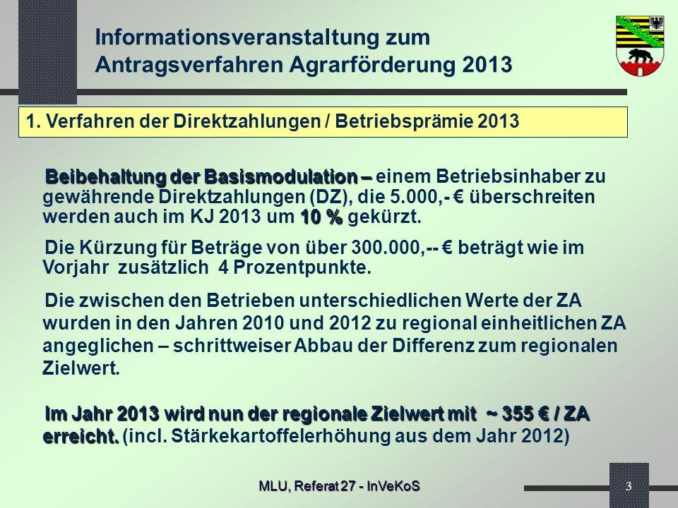 Informationsveranstaltung zum Antragsverfahren Agrarförderung 2013 MLU, Referat 27 - InVeKoS3 1. Verfahren der Direktzahlungen / Betriebsprämie 2013 B
