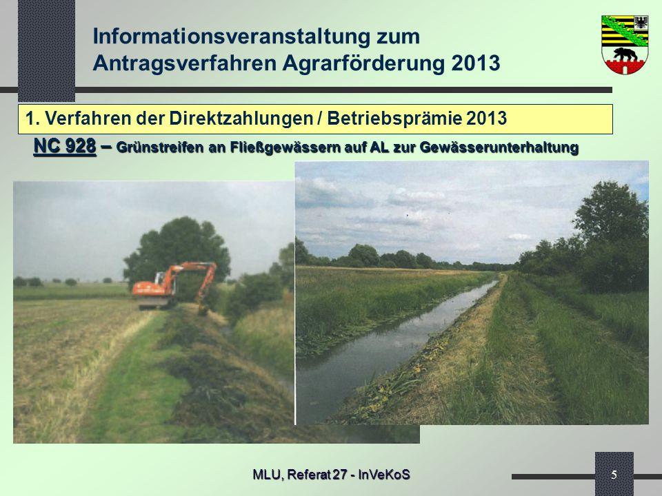 Informationsveranstaltung zum Antragsverfahren Agrarförderung 2013 MLU, Referat 27 - InVeKoS5 1. Verfahren der Direktzahlungen / Betriebsprämie 2013 N