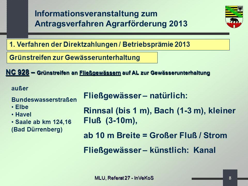 Informationsveranstaltung zum Antragsverfahren Agrarförderung 2013 MLU, Referat 27 - InVeKoS8 1. Verfahren der Direktzahlungen / Betriebsprämie 2013 N