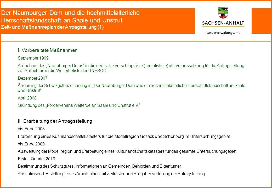 Der Naumburger Dom und die hochmittelalterliche Herrschaftslandschaft an Saale und Unstrut Zeit- und Maßnahmeplan der Antragstellung (1) I.