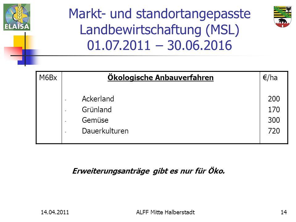 14.04.2011ALFF Mitte Halberstadt14 M6BxÖkologische Anbauverfahren - Ackerland - Grünland - Gemüse - Dauerkulturen /ha 200 170 300 720 Erweiterungsantr