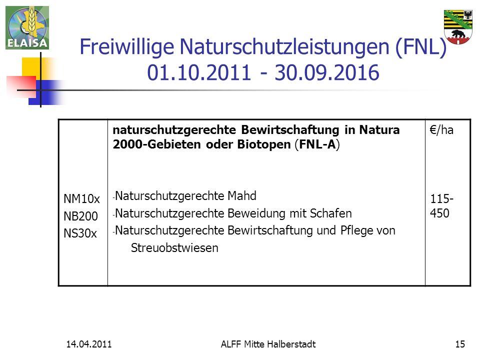 14.04.2011ALFF Mitte Halberstadt15 Freiwillige Naturschutzleistungen (FNL) 01.10.2011 - 30.09.2016 NM10x NB200 NS30x naturschutzgerechte Bewirtschaftu